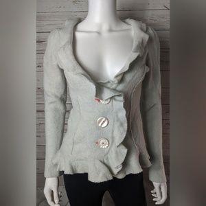 Cartonnier Anthro Wool Ruffled Cardigan Sweater